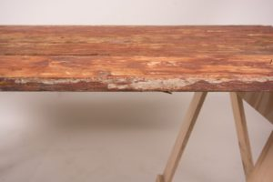 Brown trestle table edge