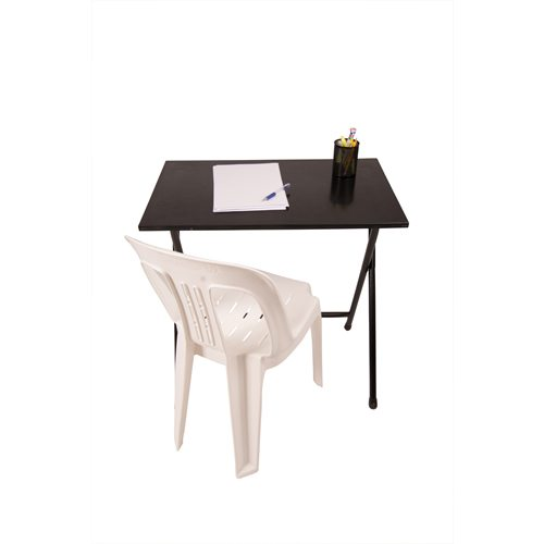 Black exam folding table with white chair