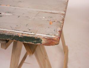 old trestle table corner