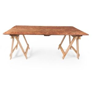 brown trestle table