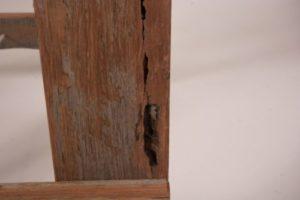 Reclaimed Hardwood timber trestle legs with hole