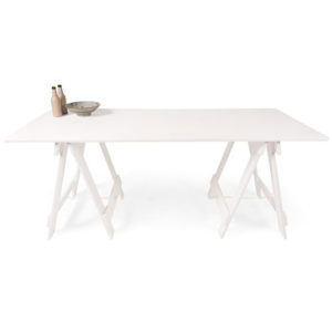 painted white timber trestle table with white painted timber legs