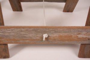 Reclaimed hardwood timber trestle legs base