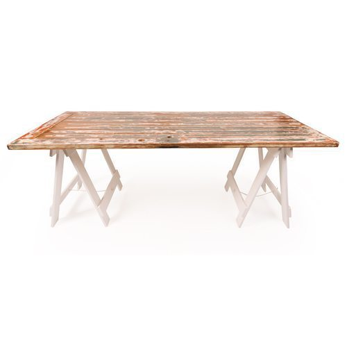 Rustic wooden door folding trestle table with white legs