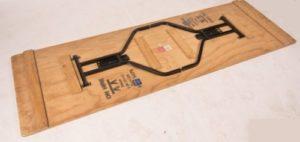 Underside of plywood folding table