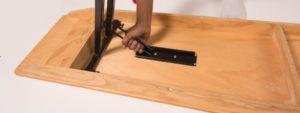 Wooden folding bench underside