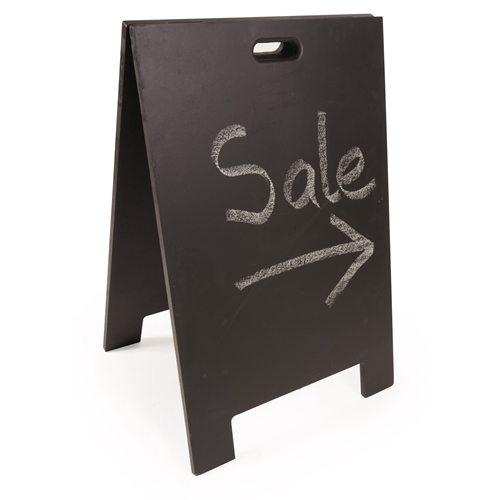 Chalk board sandwich board with 'Sale' written on it