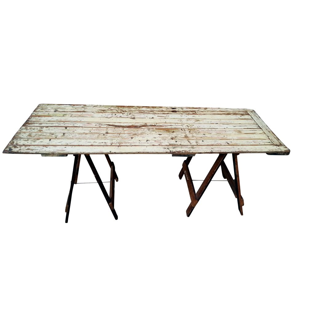 Vintage Cream Trestle Table Ex Hire Out Of Stock Folding Tables Direct