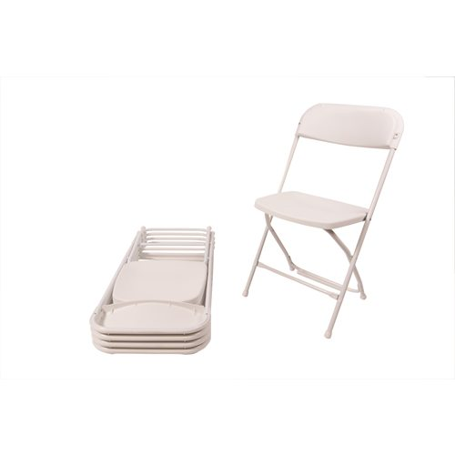 White plastic folding chairs, one standing, the rest folded down on top of each other