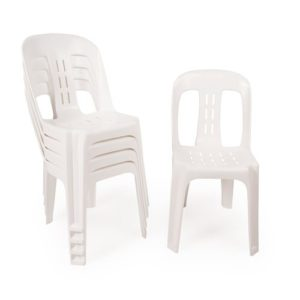 White plastic stacking bistro chairs, one standing, the rest stacked on top of each other