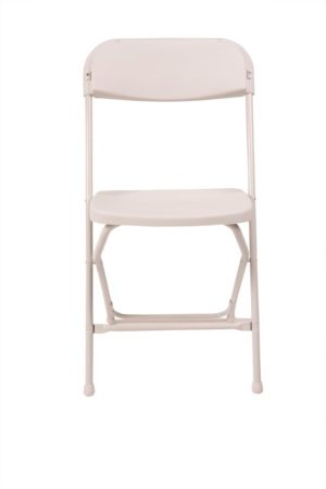 White plastic folding chair front