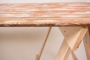 Reclaimed white wash timber trestle table edge