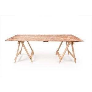 Reclaimed white wash timber trestle table
