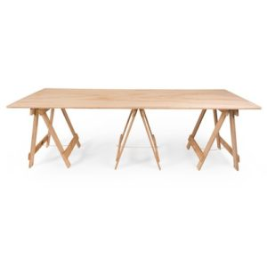 Large plywood trestle table with three plywood trestle legs