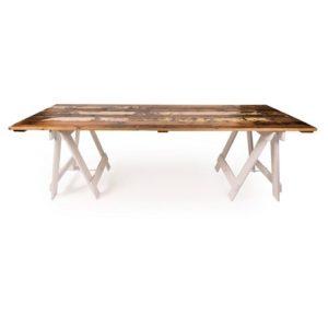 Kauri Pine reclaimed trestle table with white trestle legs