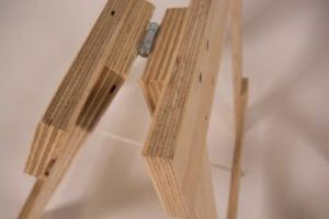 Plywood timber trestle legs hinge joint