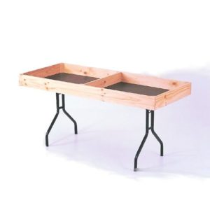Folding table with timber divider surrounds