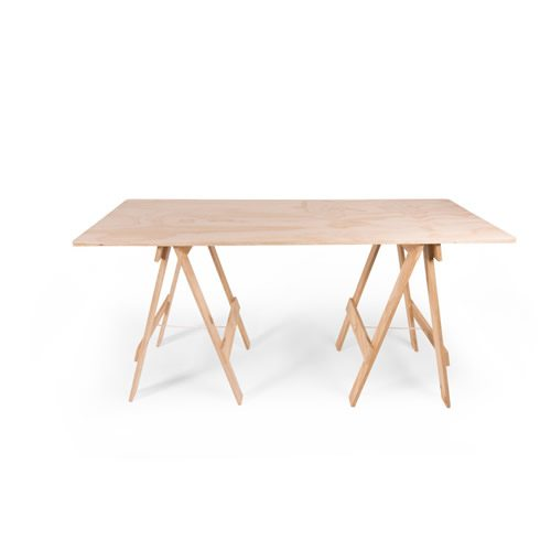 Plywood timber trestle table
