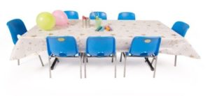 Kids folding table with table cloth and chairs