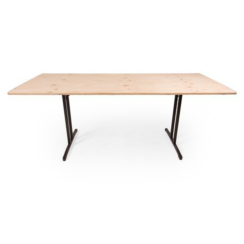 Plywood timber folding table with black T shape legs