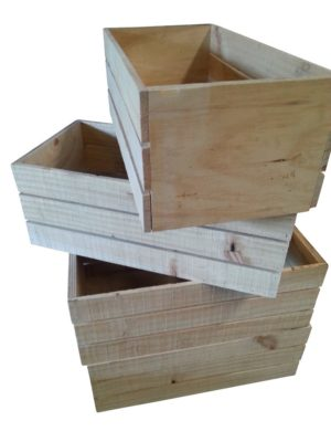 Timber crates stacked on top of one another