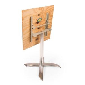 Cafe square pedestal table with plywood top and chrome base folded down