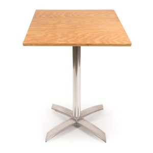 Cafe square pedestal table with plywood top and chrome base