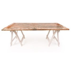 Red and Green Keyhole trestle table