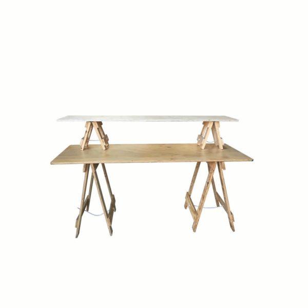 Trestle table with mini trestle table shelf on top