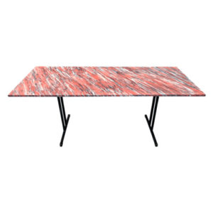 painted red folding table with black metal folding legs
