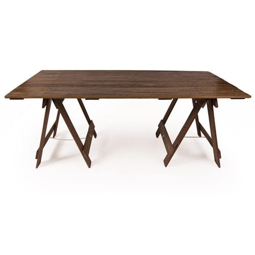 Dark stain varnished timber trestle table with dark stain legs