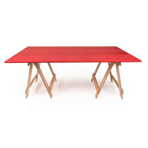 red timber trestle table for hire with raw plywood trestle legs