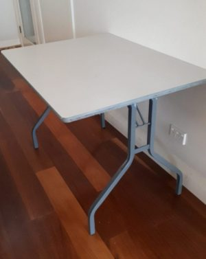 Small grey melamine folding table with grey wine glass shape legs