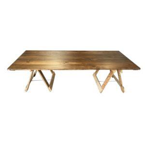 Reclaimed low boho style trestle table