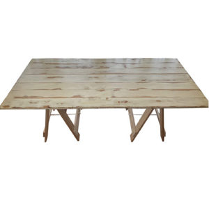 washed pine trestle table deep etched