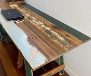 Reclaimed painted timber trestle table end