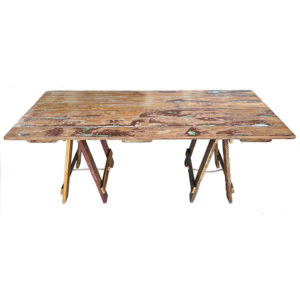 wooden door trestle table