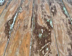 Reclaimed wooden door trestle table texture