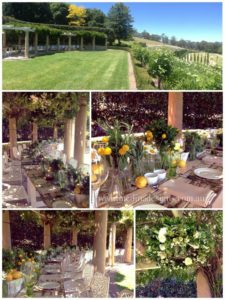 Wooden Trestle Tables used outside in country esate. Plates, cutlery and flowers ae on top of each table