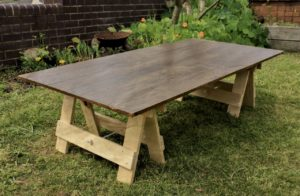 homepage main trestle table stained and varnished top with raw solid pine low trestle legs