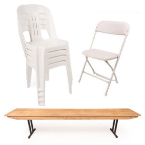 White folding chairs and timber benches