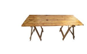 light brown reclaimed wooden trestle table