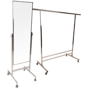 Chrome clothing rack and mirror for hire